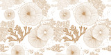 Hand drawn seamless vector pattern. Gold corals and algae on a white background for printing, fabric, textile, manufacturing, wallpapers. Sea bottom. - 200813615