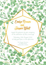 Wedding Invitation With Evergreen Eucalyptus Green Leaves And Branches With Gold Design Frame Isolated. Vertical