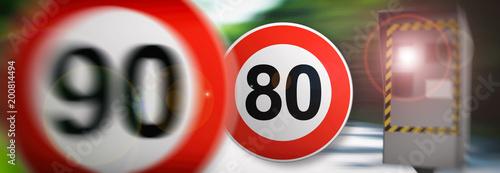 Fotografía radar 90km/h et 80km/h vitesse en France 1er juillet 2018 sur les route de Franc