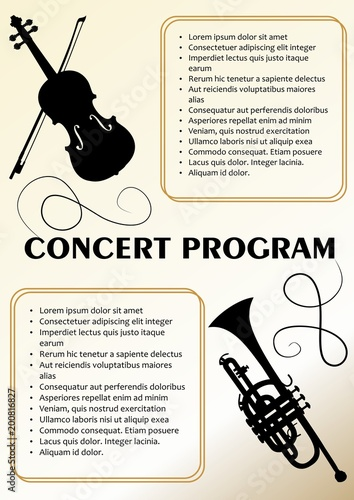 Concert Program Template With Violin And Trumpet Silhouette Text