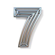 Wire Outline Font Number 7 SEVEN 3D