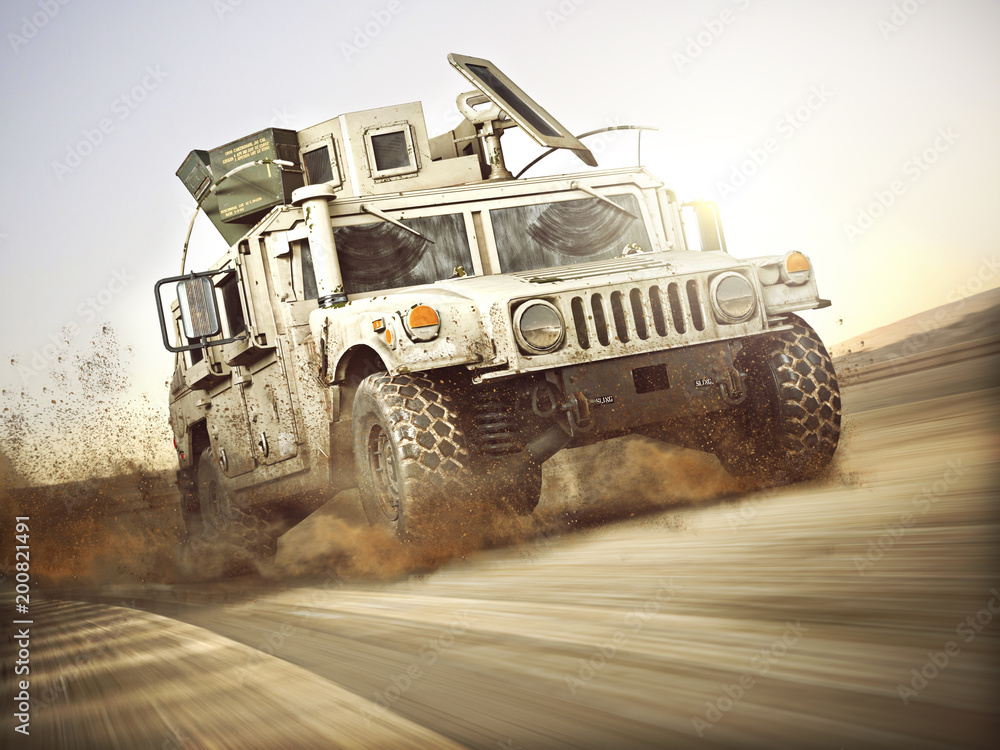 Fototapeta Military armored vehicle moving at a high rate of speed with motion blur over sand. Generic 3d rendering scene.