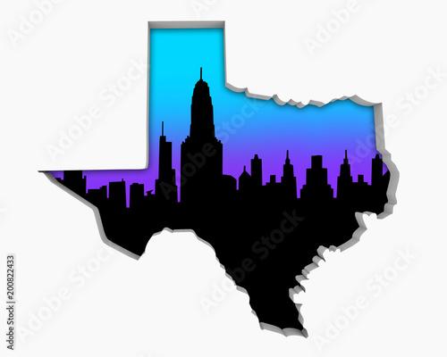 Foto op Plexiglas Texas Texas TX Skyline City Metropolitan Area Nightlife 3d Illustration