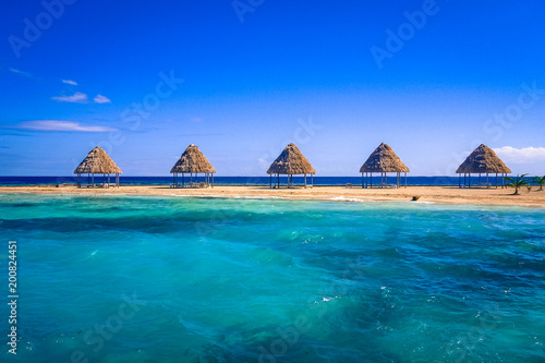 Photo A row of thatched palapas on golden sand on the tiny island of Rendezvous Caye i