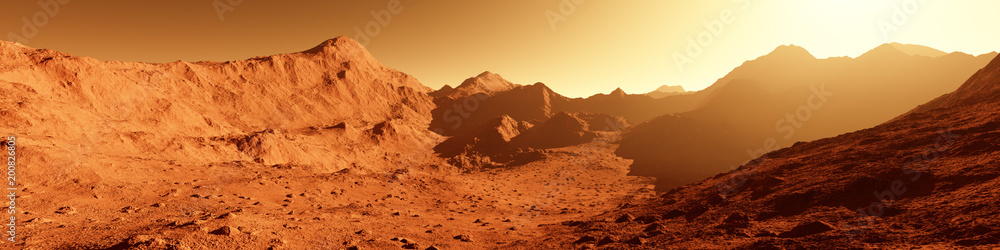 Fototapety, obrazy: Wide panorama of mars - the red planet - landscape with mountains during sunrise or sunset