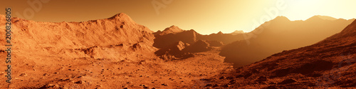 Fototapeta Wide panorama of mars - the red planet - landscape with mountains during sunrise or sunset obraz