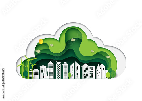 Green eco friendly urban city and nature landscape with