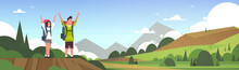Cheerful Couple Of Tourists With Backpacks Over Beautiful Nature Landscape Background Man And Woman Hiking Flat Vector Illustration