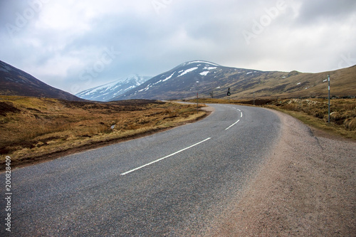 Photo Stands Eggplant Scottish landscape. Old Military Road A93 in Royal Deeside. Cairngorm Mountains, Braemar, Ballater, Aberdeenshire, Scotland, UK.