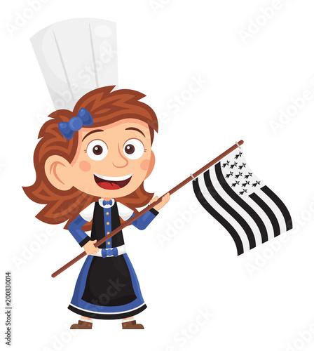 Fotomural Petite bretonne tenant le drapeau breton