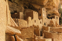 Buildings And Ruins Of The Ancient Pueblo Cliff City Of Mesa Verde In Colorado