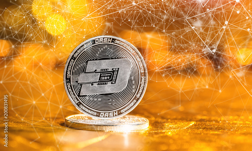 Staande foto Scandinavië Dash cryptocurrency coin on a golden background