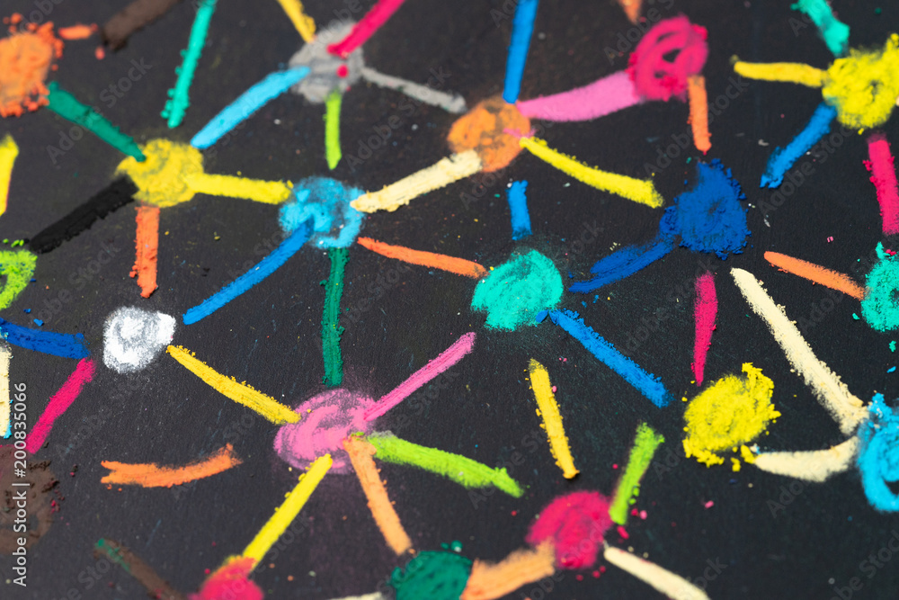 Fototapeta Social network or decentralize concept, macro view of colorful pastel link and connect chalk line between multiple dot or teer on blackboard