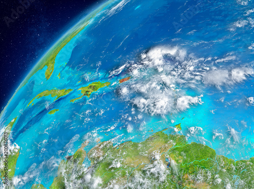 Fototapety, obrazy: Space view of Puerto Rico in red
