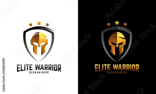 Luxury Sparta warrior helmet logo, Elite Warrior logo template designs Canvas Print