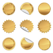 Gold Starbursts Set,  Illustration Vector 10