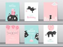 Set Of Cute Cat On Birthday Ba...
