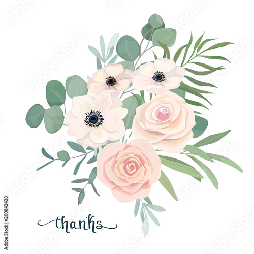 Fototapety, obrazy: Floral bouquet with anemone, rose and eucalyptus. For wedding, Valentine's day, Birthday. Vector illustration. Watercolor set