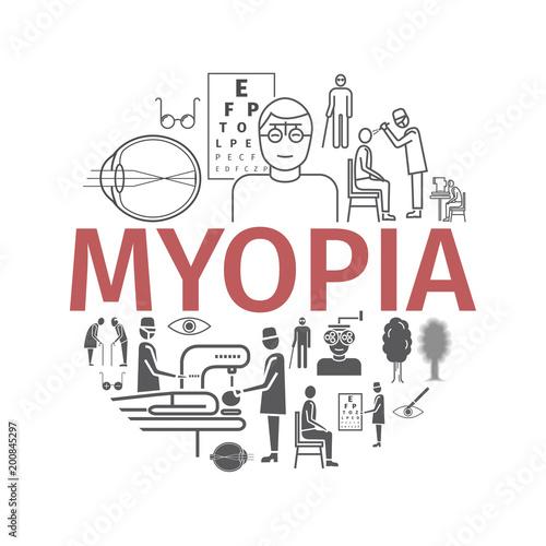 Fotografía  Myopia line icons set
