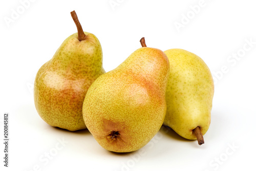 Juicy fresh ripe Williams pears, isolated on a white background
