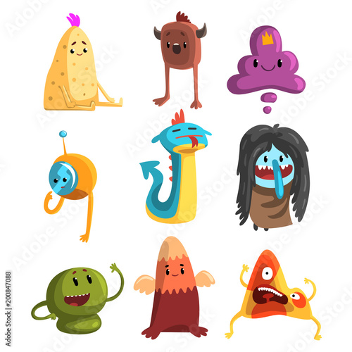 Slika na platnu Cartoon flat vector set of funny monsters