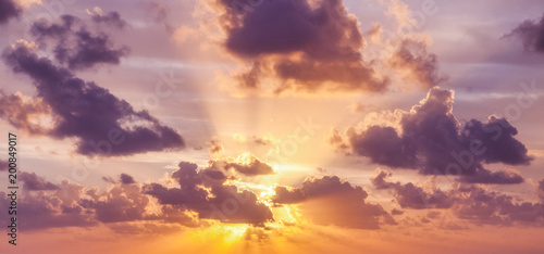 Aluminium Prints Heaven Bright colorful sunset sky, clouds and sun rays, natural background and texture