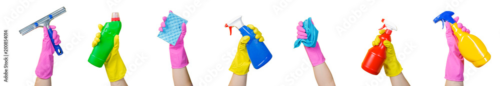 Fototapety, obrazy: Cleaning concept - hands holding supplies, isolated