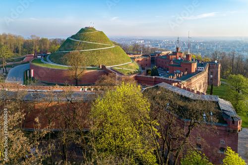 Fototapeta Kosciuszko Mound (Kopiec Kosciuszki). Krakow landmark, Poland. Erected in 1823 to commemorate Tadedeusz Kosciuszko. Surrounded by a citadel built by Austrian Administration about 1850. Aerial view obraz