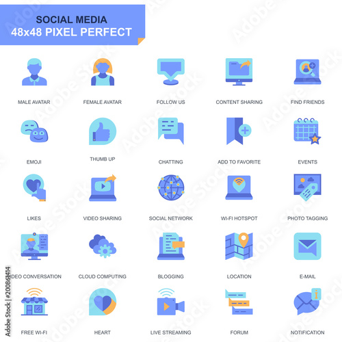 Fotografía  Simple Set Social Media and Network Flat Icons for Website and Mobile Apps