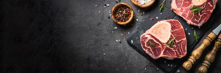 Raw beef steak osso bucco o...