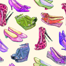 Modern Ladies Shoes: Wedge, Slingbacks, Stilettos, Court Shoes And Kitten Heel, Hand Painted Watercolor Illustration, Seamless Pattern On Soft Yellow Background