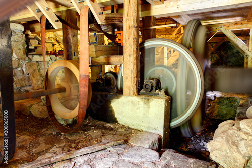 Photo  Interior of historic watermill