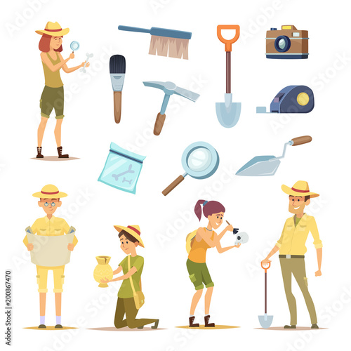 Archaeologists characters and various historical artifacts Wallpaper Mural