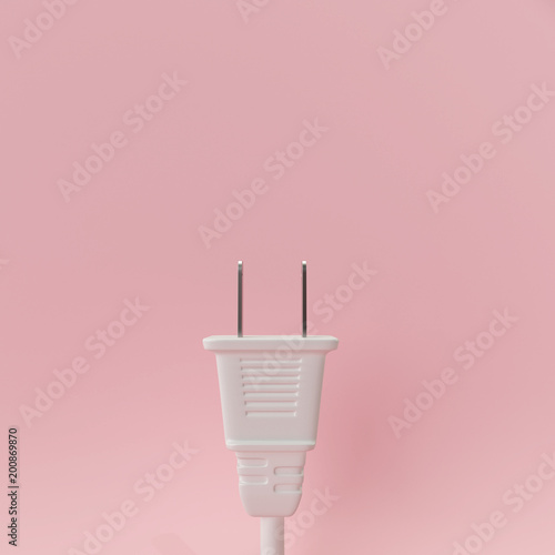 Fotografía White plug on pastel pink background. 3d rendering