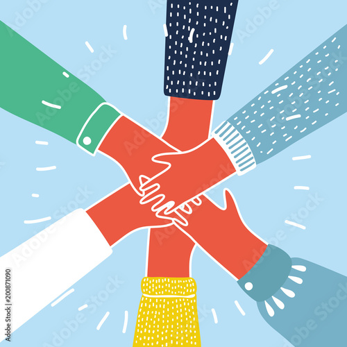 Obraz People putting their hands together vector - fototapety do salonu