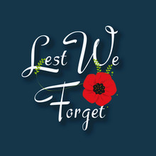 Decorative Paper Poppy For Anzac Day Is A National Day Of Remembrance In Australia And New Zealand. Lest We Forget.