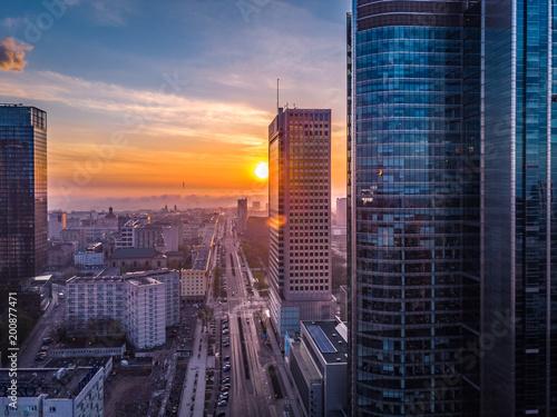 Obraz Warszawa o poranku - fototapety do salonu