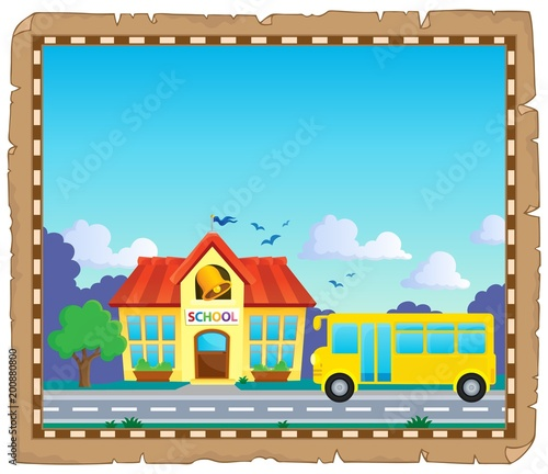 For Kids Parchment with school bus 5