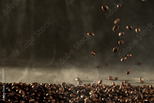 Tuinposter Cafe coffee bean aroma drinking in morning for background decoration