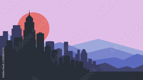 City skyline vector illustration. Urban landscape. purple city silhouette. Cityscape in flat style. Modern city landscape. Cityscape backgrounds.