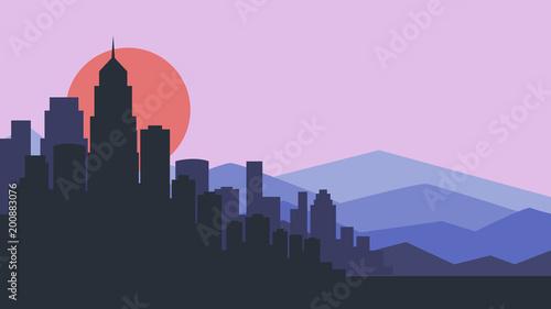 Deurstickers Purper City skyline vector illustration. Urban landscape. purple city silhouette. Cityscape in flat style. Modern city landscape. Cityscape backgrounds.