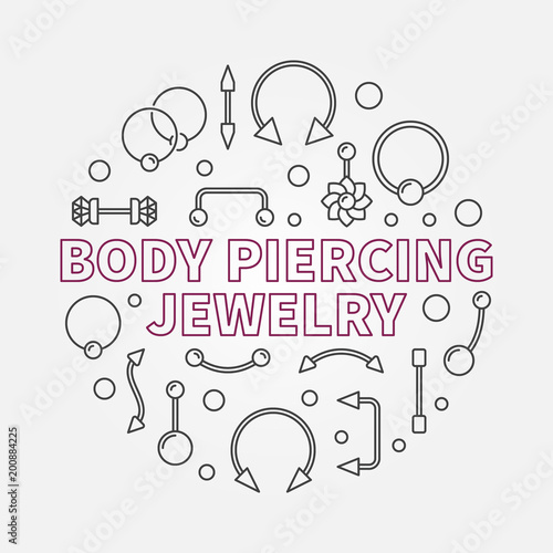 Fényképezés Body piercing jewelry vector modern outline illustration