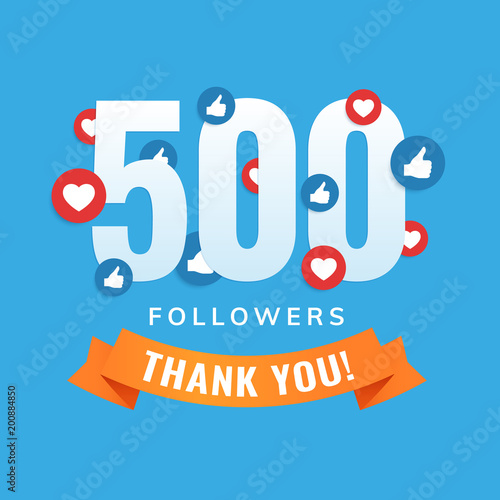 Fotografia  500 followers, social sites post, greeting card vector illustration