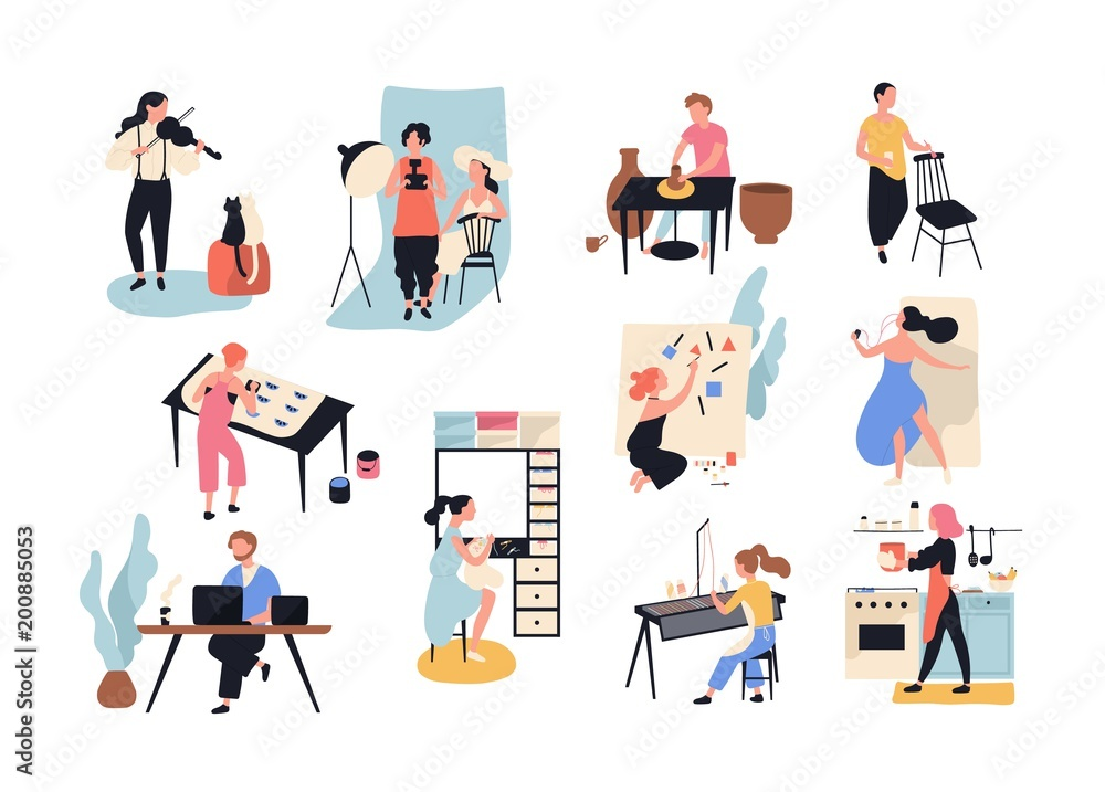Fototapety, obrazy: Collection of male and female art, handicraft and creative workers or professionals. Set of people of various occupation isolated on white background. Vector illustration in flat cartoon style.
