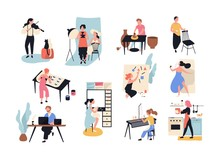 Collection Of Male And Female Art, Handicraft And Creative Workers Or Professionals. Set Of People Of Various Occupation Isolated On White Background. Vector Illustration In Flat Cartoon Style.