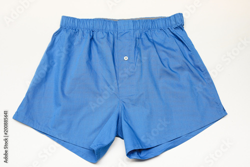 Men's boxer shorts on white background