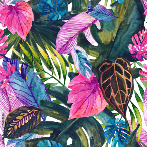 Fotoposter Grafische Prints Watercolor tropical leaves seamless pattern