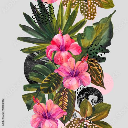 Photo sur Toile Empreintes Graphiques Watercolor tropical flowers on geometric background.