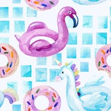 Water color flamingo, unicorn pool float, ring donut lilo floating in blue swimming pool - 200888225