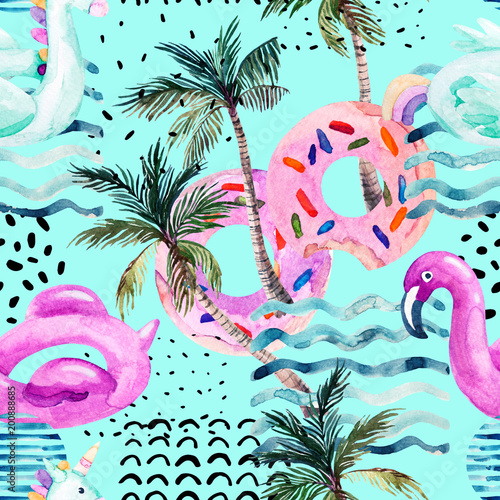 Staande foto Grafische Prints Water color flamingo pool float, donut lilo floating on 80s 90s background.